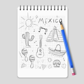 Skizzieren sie mexikanischen symbolsatz