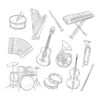 Skizzieren sie musikinstrumente. schlagzeug harfe flöte synthesizer akkordeon gitarre trompete cello. musik vintage umriss hand gezeichneten satz