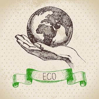 Skizzieren sie ökologie-vintage-hintergrund. handgezeichnete vektorillustration