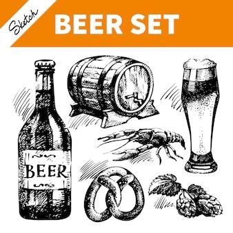 Skizzieren sie oktoberfest-set bier. handgezeichnete illustrationen