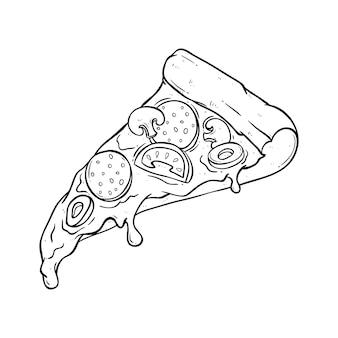 Skizzieren sie pizza mit leckerem belag