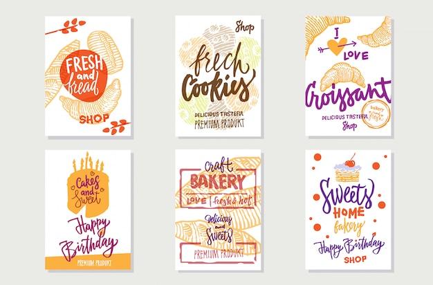 Skizzieren sie premium-bäckerei-poster