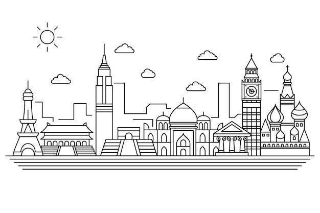 Skizzieren sie sehenswürdigkeiten skyline-konzept