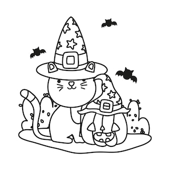 Skizzieren sie süße katze mit hut und kürbis mit fledermäusen