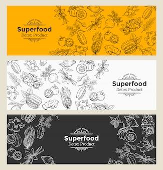 Skizzieren sie superfood-symbole