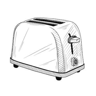 Skizzieren sie toaster auf einem weißen hintergrund. illustration im skizzenstil.