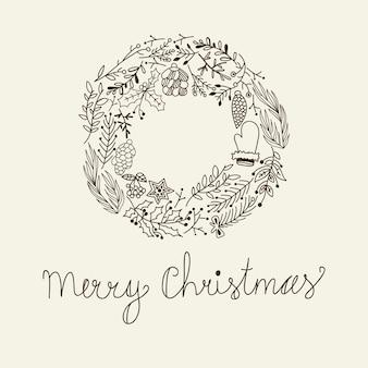 Skizzieren sie weihnachtsblumenkranz mit grußinschriftbaumzweigkegelhandschuh und stechpalmenbeerenillustration