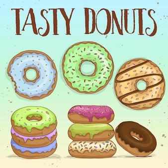 Skizzieren und färben sie verschiedene arten von desserts