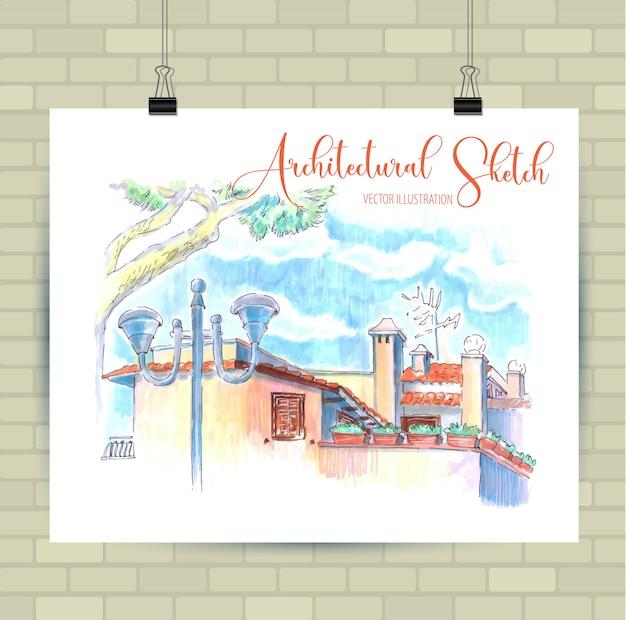 Skizzierendes plakat mit schöner landschaft und städtischen elementen.