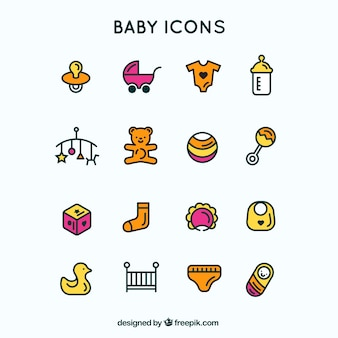 Skizziert blau baby icons