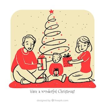Skizziert familienweihnachtsszene