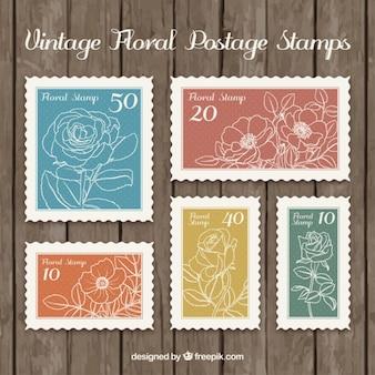 Skizziert floral briefmarken