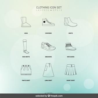 Skizziert kleidung icons set