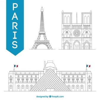 Skizziert paris denkmäler