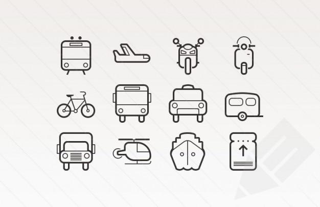 Skizziert schlaganfall symbole für transport