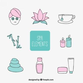 Skizziert wellness-elemente