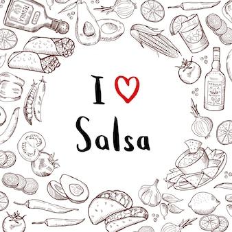 Skizzierte mexikanische lebensmittelelemente mit kreis des leeren raumes in der mitte. mexikanisches essen und mexikanische küche