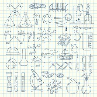 Skizzierte wissenschaft oder chemie elementsatz