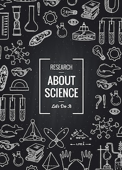 Skizzierte wissenschafts- oder chemieelemente versammelten sich zusammen auf schwarzer tafel