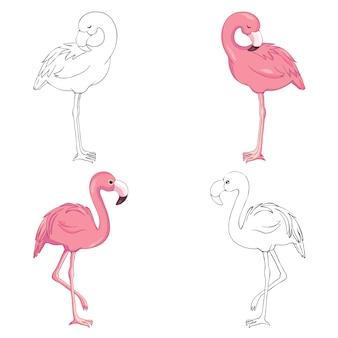 Skizzierter flamingovektor