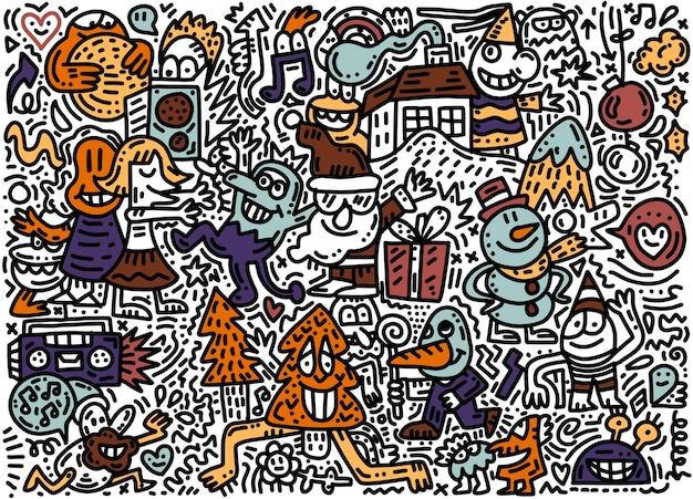 Skizzierter handgezeichneter gekritzelkarikatursatz von objekten und symbolen auf dem thema frohe weihnachten