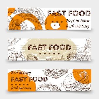 Skizziertes fast-food-vektor-banner-schablonendesign