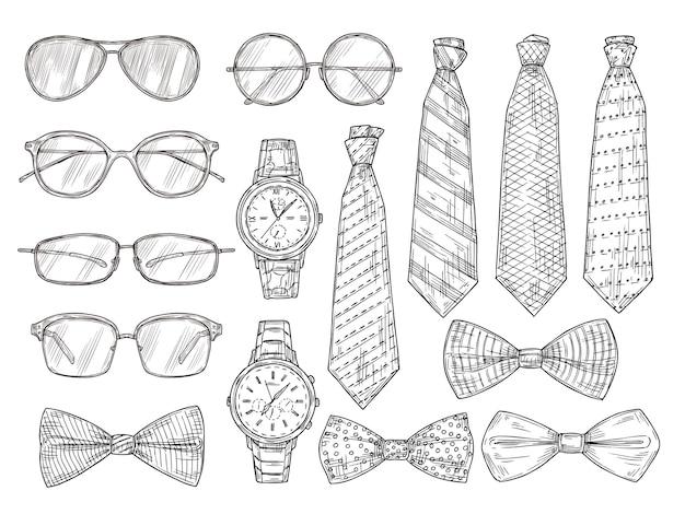 Skizziertes herrenzubehör. brillen, uhren und herren krawatten und fliege. weinlesegravurvektorsatz. illustrationsskizze mann fliege, sammelgläser