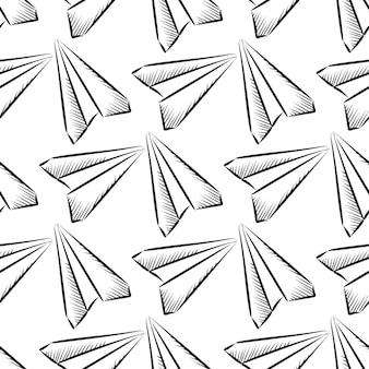 Skizziertes nahtloses muster der papierebene
