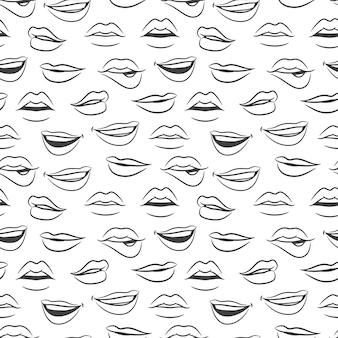 Skizziertes nahtloses muster der weiblichen sexy lippen