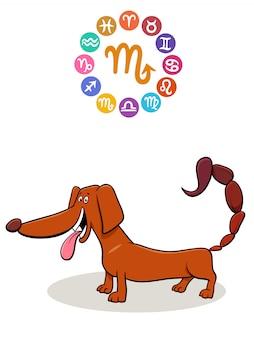 Skorpion sternzeichen mit cartoon hund