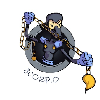 Skorpion sternzeichen person flache karikatur. astrologische wassersymbolmerkmale. gebrauchsfertiges 2d-zeichen für kommerzielles druckdesign. isoliertes konzeptsymbol