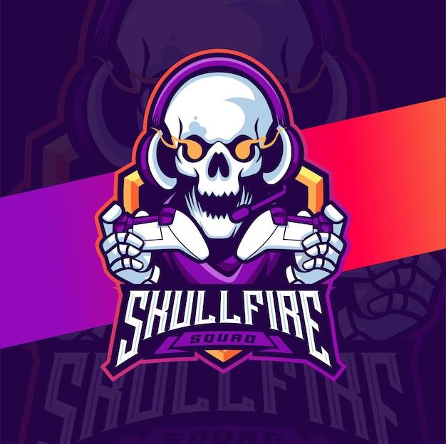 Skull gamer maskottchen esport logo design charakter für spiele und sport
