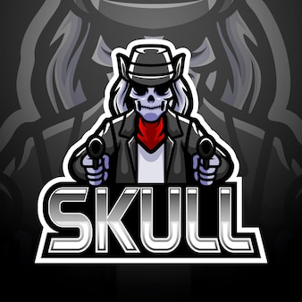 Skull gun esport logo design
