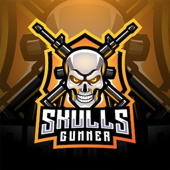 Skull gunners esport maskottchen logo design