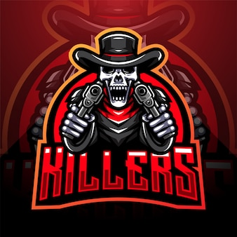 Skull gunners esport maskottchen logo