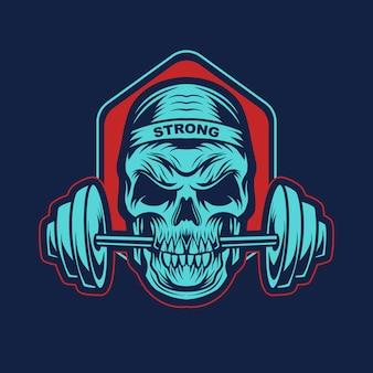 Skull gym emblem illustration design