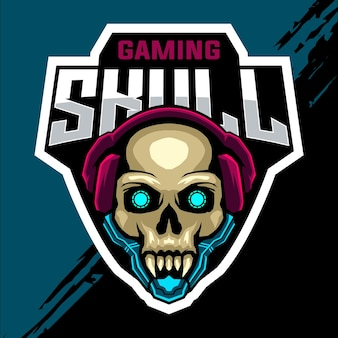 Skull head esport game logo