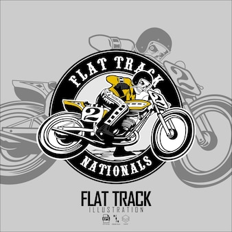 Skull riding flat racker motorrad illustration mit grauem hintergrund