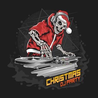 Skull santa claus mit weihnachtsjacke und hut bei dj party illustration