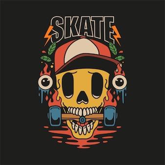 Skull skate t-shirt design
