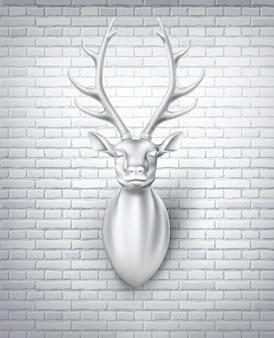 Skulptur 3d hirschkopf mit hörnern