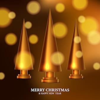 Skulptur der goldenen weihnachtsbaumdekoration. elegantes, königliches, luxuriöses 3d-schnitzdesign mit goldenem bokeh-lichthintergrund. weihnachtsfeier
