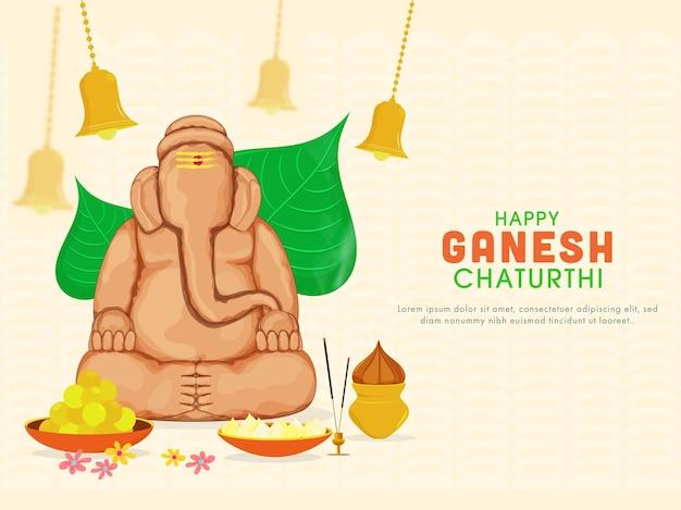 Skulptur von ganesha gemacht durch boden mit peepal-blättern
