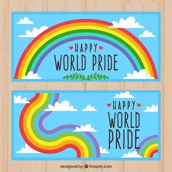Sky banner mit stolz tag regenbogen