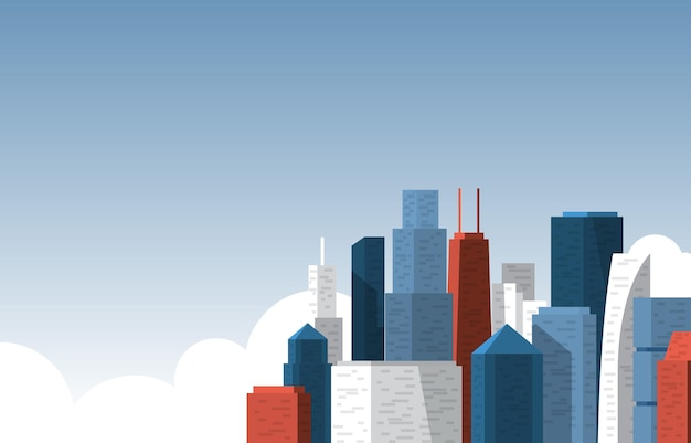 Sky city gebäude bau stadtbild skyline business illustration