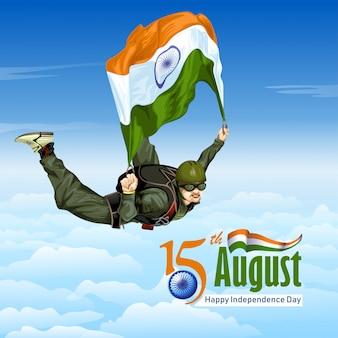 Sky diving mit indischer flagge