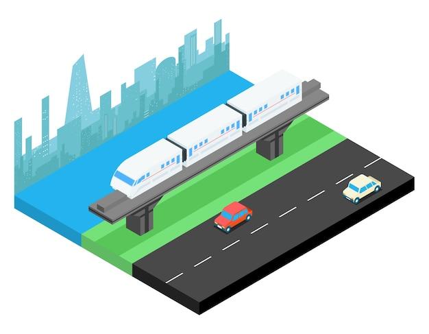 Sky train und skyline der stadt isometrisch. schienenverkehr, eisenbahn urban