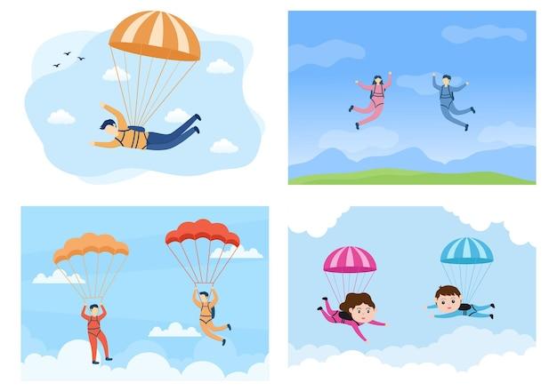 Skydive sport der outdoor-aktivität erholung mit fallschirm und hochsprung in sky air vector