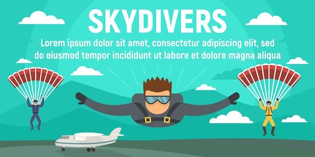 Skydivers-konzeptfahnenschablone, flache art