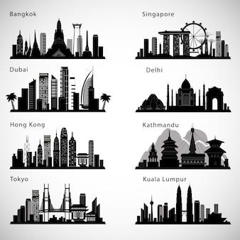 Skyline der asiatischen städte eingestellt. vektorsilhouetten.